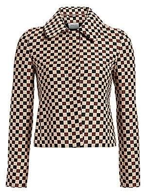 Akris Punto Women's Chess Check Jacquard Crop Jacket