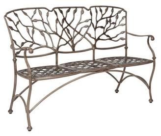 "Woodard Heritage Garden Bench Woodard Cushion Color: No Cushion, Frame Color: Chestnut Brown, Size: 17.3"""