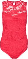 Quiz Red Lace Sweetheart Neck Bodysuit