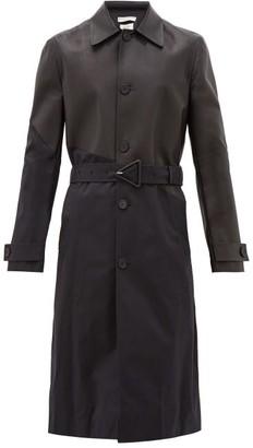 Bottega Veneta Twill And Leather Trench Coat - Mens - Black