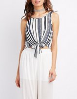 Charlotte Russe Striped Tie-Front Tank Top