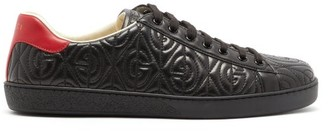 Gucci New Ace Gg Quilted-leather Trainers - Mens - Black Red