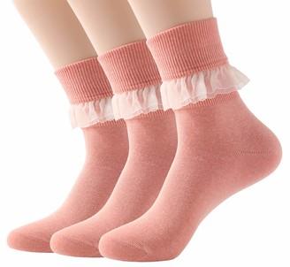 SRYL Women Lace Ruffle Frilly Ankle Socks Fashion Ladies Girl Princess YYS09 - - One Size