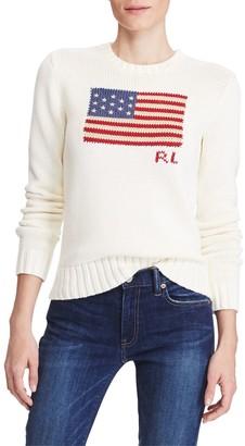 Ralph Lauren Polo Flag Cotton Jumper, Cream