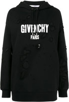 Givenchy Oversized distressed logo print hoodie