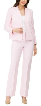 Le Suit Textured Star-Collar Pants Suit