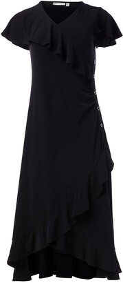 Rafaella Women's Solid Ruffle Short Cap Sleeve Dress with Hardware