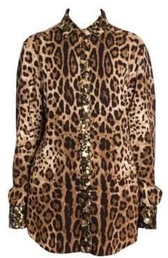 Dolce & Gabbana Dolce& Gabbana Dolce& Gabbana Women's Sequin Detail Leopard Blouse - Leopard - Size 44 (8)