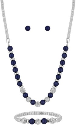Jon Richard Bliss Silver Plated Navy Pearl Crystal Ball Three Piece Jewellery Set