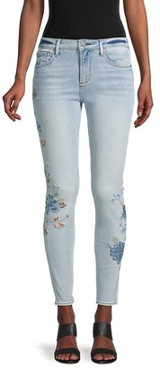 Driftwood Floral Embroidery Ankle Skinny Jeans