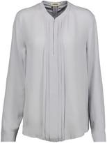 L'Agence Lauren pintucked silk-georgette blouse