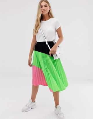 Liquorish pleated midi skirt in neon color block