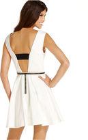 XOXO Juniors Dress, Sleeveless Belted A-Line