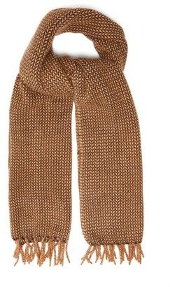 Raey Fringed Tweed-effect Cashmere Scarf - Mens - Dark Orange