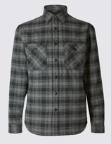 Marks and Spencer Pure Cotton Borg Lined Shirt Jacket