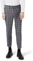 Topman Men's Skinny Fit Plaid Crop Suit Trousers
