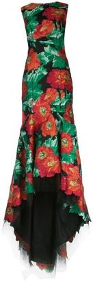 Oscar de la Renta Poppy-Jacquard Step-Hem Gown