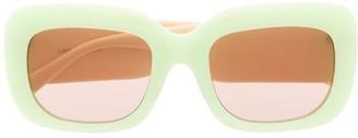 Linda Farrow Two-Tone Square Sunglasses