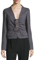 Valentino Long-Sleeve Embellished-Front Jacket, Purple/Multi