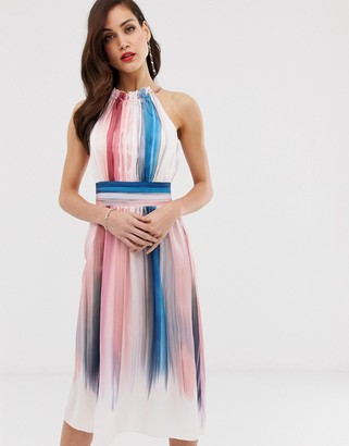 Little Mistress ombre stripe pleated printed midi dress