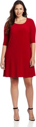 Star Vixen Women's Plus-Size Tie Cowl-Back Elbow Sleeve Dress