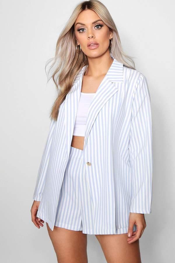 boohoo Plus Stripe Blazer + Short Co-ord
