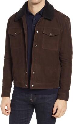 Reiss Miles Suede & Genuine Shearling Trucker Jacket