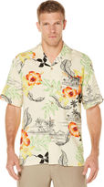 Cubavera Short Sleeve Printed Floral Pocket Camp Shirt