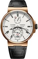 Ulysse Nardin 1186-126/E0 18ct rose gold and leather Marine Chronometer watch