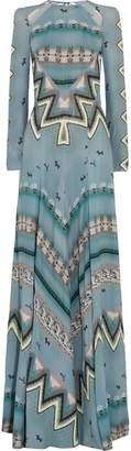 Etro Open-back Cutout Printed Crepe De Chine Gown