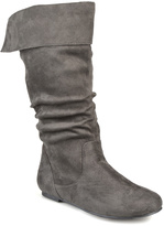 Journee Collection Gray Shelley Wide-Calf Fold-Over Boot