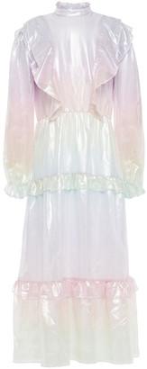 Olivia Rubin Sienna Ruffled Degrade Metallic Silk Midi Dress