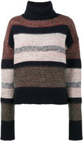 Chloé Knitted striped chunky turtle neck - women - Wool/Mohair/Cashmere/Polyamide - M