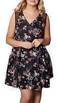 Yumi Plus Size Botanical Mesh Skater Dress, Black/Multi