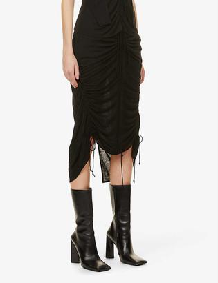 Helmut Lang Scala high-waisted woven midi skirt