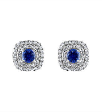 Heritage 18K 1.40 Ct. Tw. Diamond & Blue Sapphire Earrings