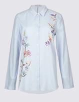 Per Una Pure Cotton Striped & Printed Shirt