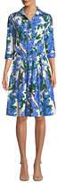 Samantha Sung Audrey 3/4-Sleeve Mimosa Floral-Print Dress