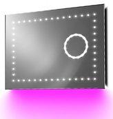 Illuminated Mirrors Vision Bathroom Clock Mirror with Under Lighting/Bluetooth/Demist and Sensor, Pink