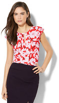 New York & Co. 7th Avenue - Ruffled Keyhole Blouse - Floral