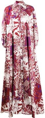 Halpern Floral-Print Maxi Shirt Dress