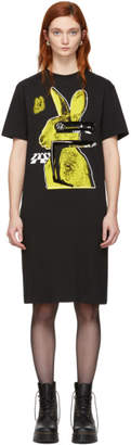McQ SSENSE Exclusive Black and Yellow Glitch Bunny Slouch T-Shirt Dress