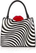 LULU GUINNESS Annette Locked Lips Optical Stripe Shoulder Bag