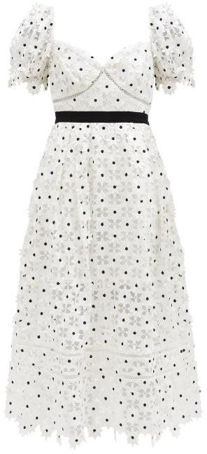 Self-Portrait Puff-sleeve Daisy-lace Midi Dress - White