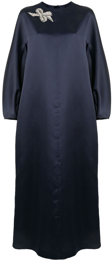Dice Kayek Bow Brooch Maxi Dress