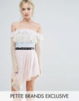 True Decadence Petite Allover Premium Lace Off Shoulder Tiered Mini Dress With Metal Belt