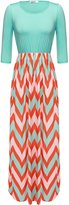 ANGVNS Womens Fashion 3/4 Sleeve Casual Contrast Color Striped Maxi Dress (L, )