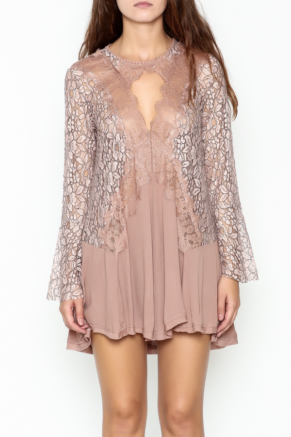 Umgee USA Lace Sleeve Tunic Dress