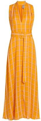 Lela Rose Belted Plaid Georgette Midi Dress