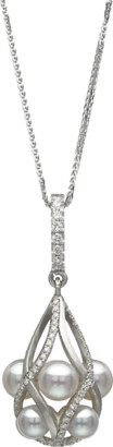 Baggins Akoya Pearl Diamond Basket Pendant Necklace